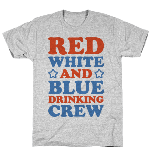 Red White and Blue Drinking Crew Mens T-Shirt