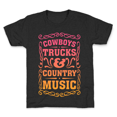 Cowboys Trucks & Country Music Kids T-Shirt