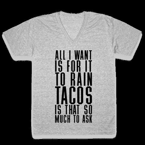 Rain Tacos V-Neck Tee Shirt