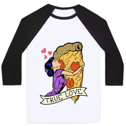 True Love Comics and Pizza Baseball Tee