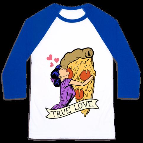True Love Comics and Pizza Baseball Tee