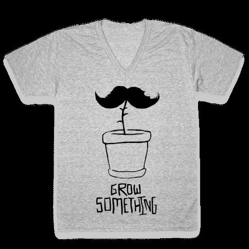 Grow A Mustache V-Neck Tee Shirt