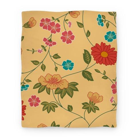 Pretty Floral Pattern Blanket Blanket