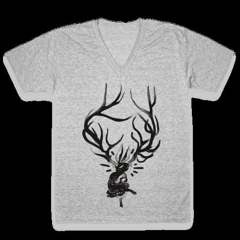 A Jackalope's Lullaby V-Neck Tee Shirt