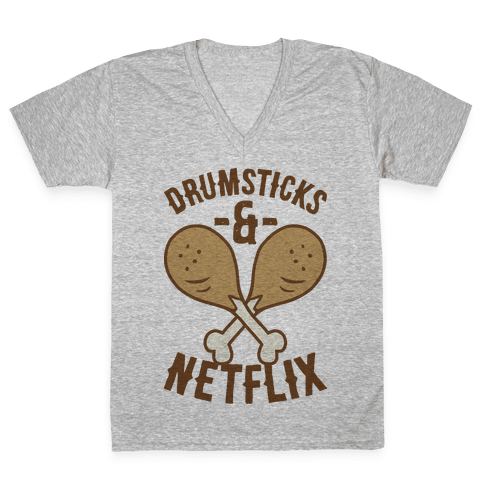 Drumsticks And Netflix V-Neck Tee Shirt