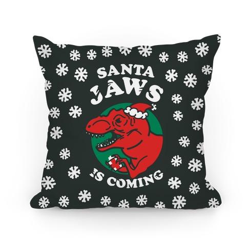 Santa Jaws Is Coming (T-Rex) Pillow