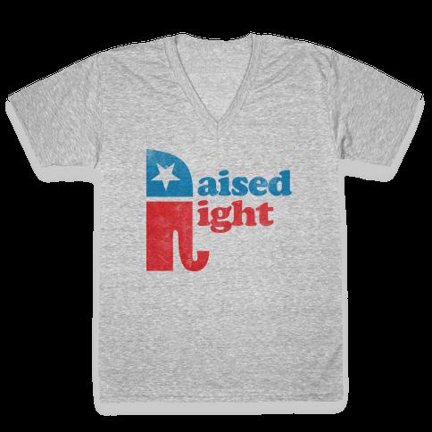 RAISED RIGHT (VINTAGE) V-Neck Tee Shirt