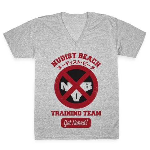 Nudist Beach Training Team V-Neck Tee Shirt