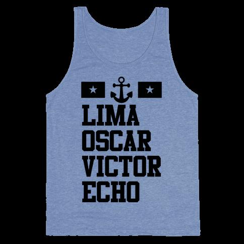 Lima Oscar Victor Echo (Navy) Tank Top