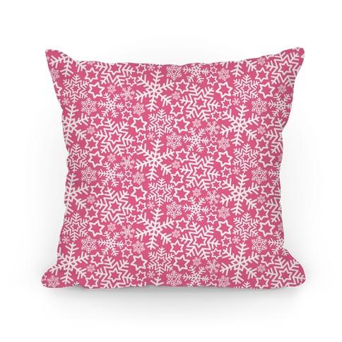Winter Snowflakes Pink Pattern Pillow