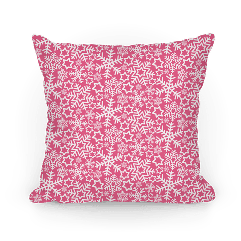 Winter Snowflakes Pink Pattern Pillow