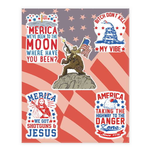 Merica sticker decal sheet
