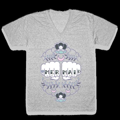 Mermaid Knuckles V-Neck Tee Shirt