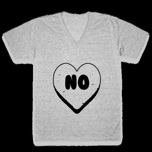 Valentine's Day Heart No V-Neck Tee Shirt