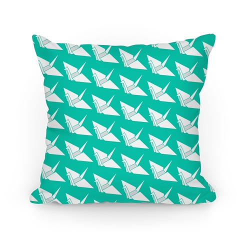 Teal Origami Crane Pattern Pillow