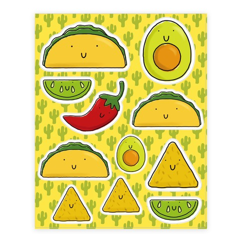 Cute Mexican Food  Sticker and Decal Sheet