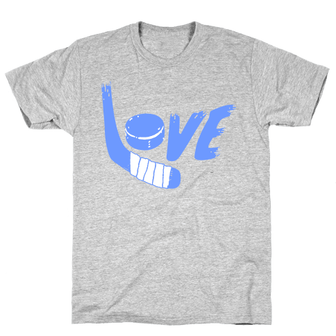 Love Hockey (Blue Letters)  Mens T-Shirt
