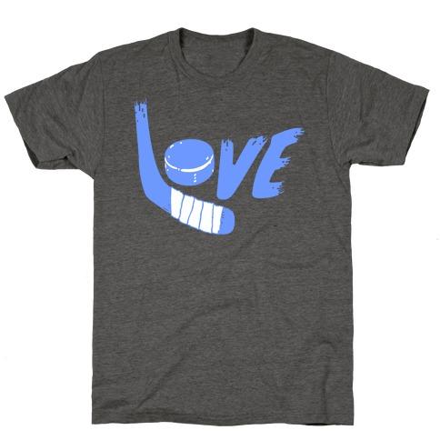 Love Hockey (Blue Letters) T-Shirt