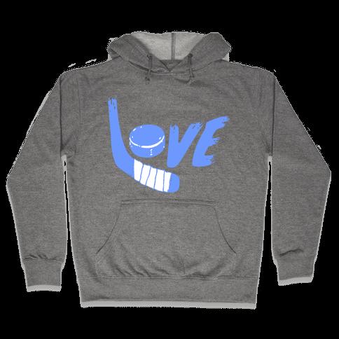 Love Hockey (Blue Letters)  Hooded Sweatshirt