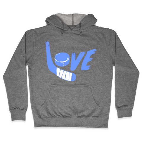 Love Hockey (Blue Letters)  Hooded Sweatshirt