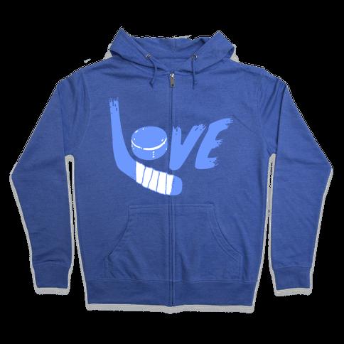 Love Hockey (Blue Letters)  Zip Hoodie