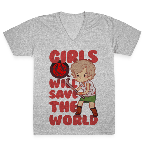 Girls Will Save The World V-Neck Tee Shirt