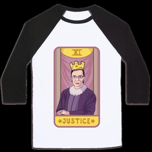 Ruth Bader Ginsburg Justice Tarot Baseball Tee