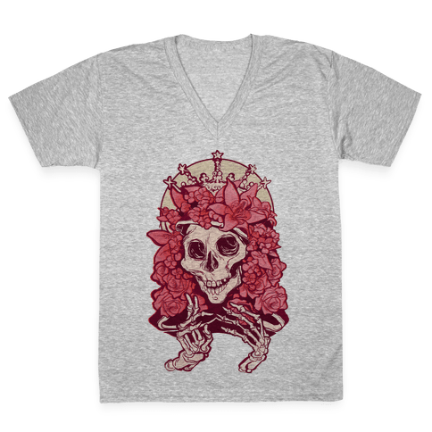Mother's Lovely Skull V-Neck Tee Shirt