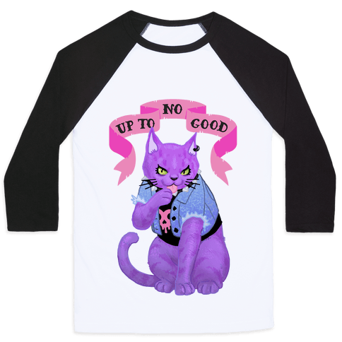 Up to No Good Pastel Goth Kitty Baseball Tee