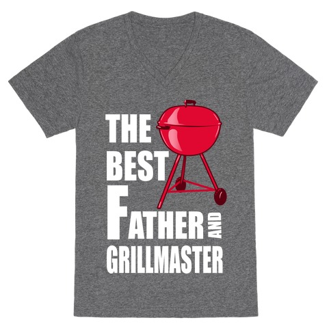 The Best Father and Grillmaster V-Neck Tee Shirt