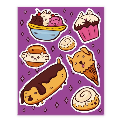 Kawaii Food Dogs Sticker and Decal Sheet