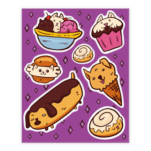 Kawaii Food Dogs  Sticker/Decal Sheet