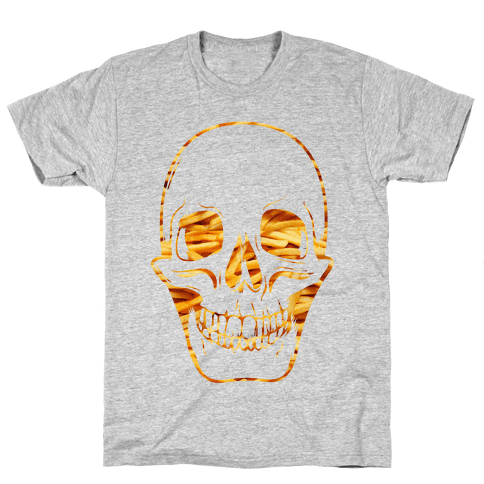 French Fry Skull Mens T-Shirt