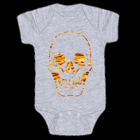 French Fry Skull Baby Onesy