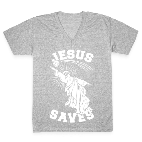 Jesus Saves (Volleyball) V-Neck Tee Shirt