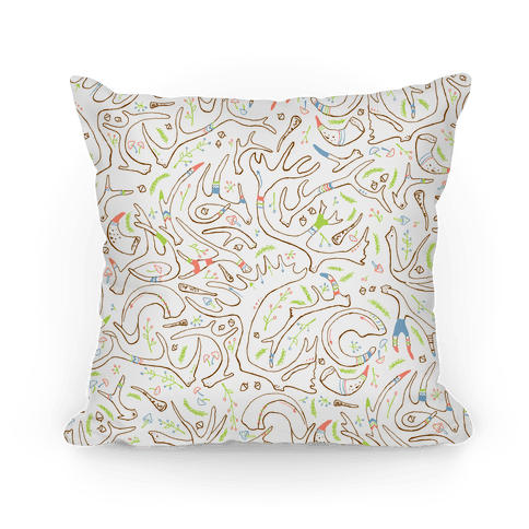 Pastel Tribal Antlers and Floral Pattern Pillow