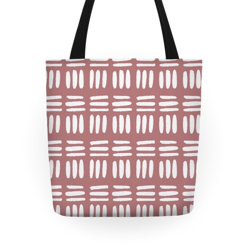 Dashed Lines Dusty Rose Boho Pattern Tote