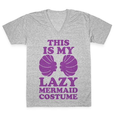 This Is My Lazy Mermaid Costume V-Neck Tee Shirt