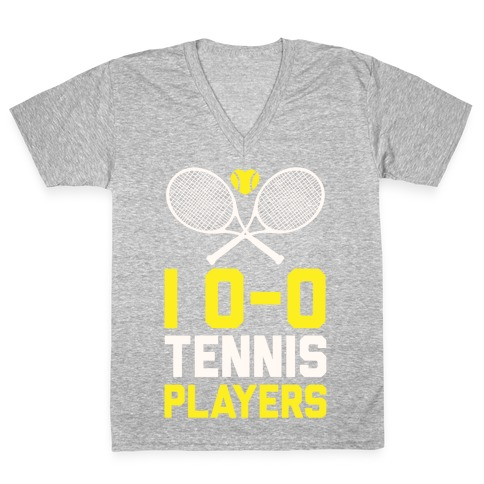 3ee34872350d9 I Love Tennis Players V-Neck Tee | LookHUMAN