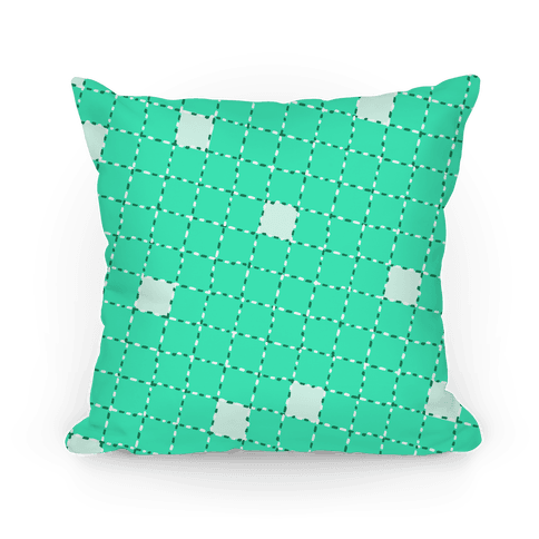 Aqua Dashed Checkers Pattern Pillow