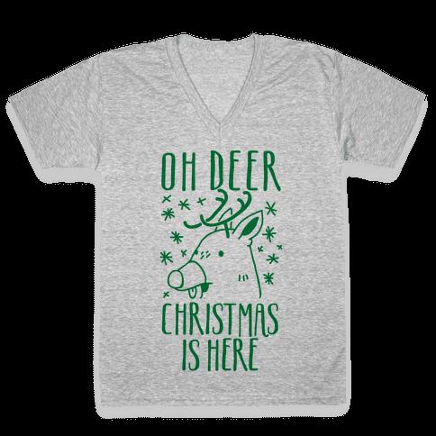 Oh Deer Christmas is Here  V-Neck Tee Shirt