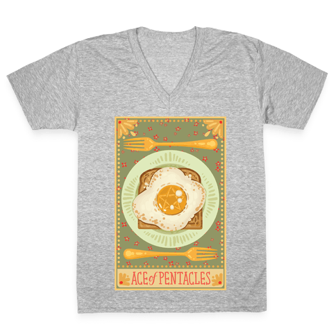 Tarot Card: The Egg Of Pentacles V-Neck Tee Shirt