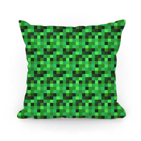 Green Gamer Pixel Pattern Pillow