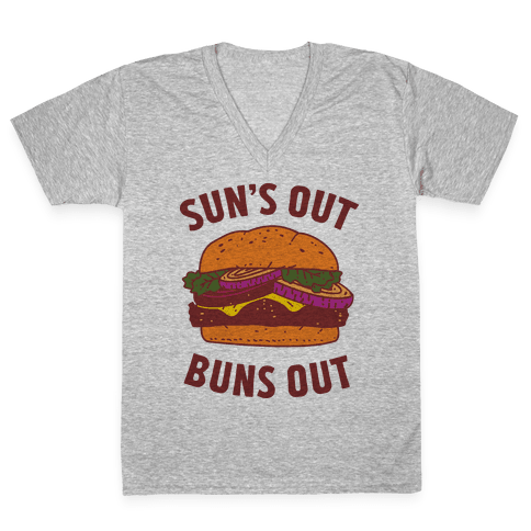 Sun's Out Buns Out V-Neck Tee Shirt