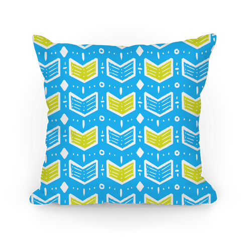Blue and Green Tribal Doodle Pattern Pillow
