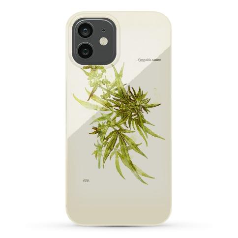 Cannabis Botanical Illustration Phone Case