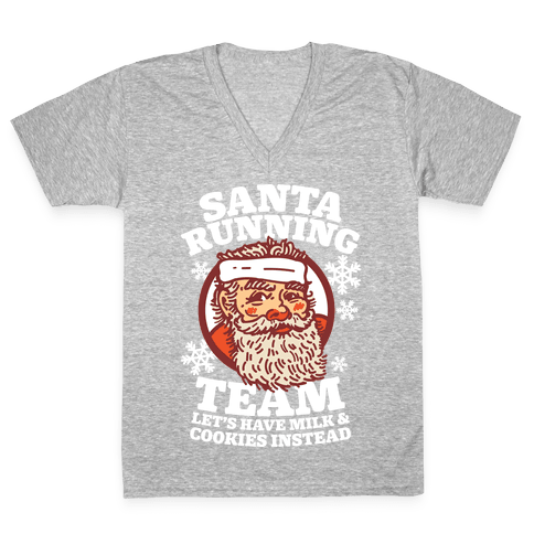 Santa Running Team V-Neck Tee Shirt