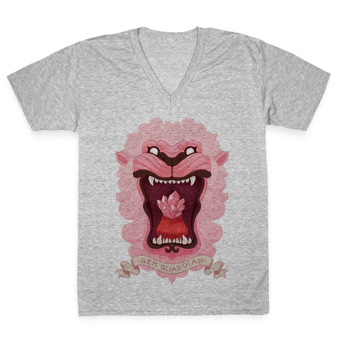 Gem Guardian Lion V-Neck Tee Shirt