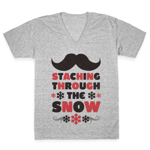 Staching Through the Snow V-Neck Tee Shirt