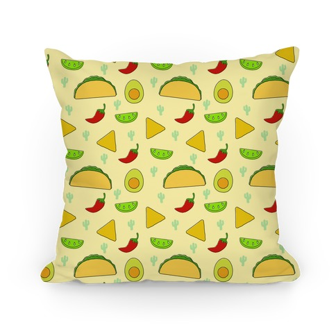 Mexican Food Pattern Pillow